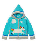 Blue  Magic Unicorn Knit Zipped Hoodie