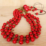 Acai Berry Statement Necklace -Red