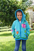 Blue Butterfly  Knit Zip Hoodie