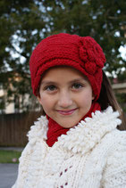 Red Knit Headband, ear warmer with a crochet flower.