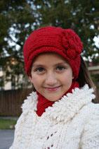 Red Knit Headband, ear warmer with a crochet flower.
