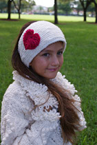 Natural and Red Heart Knit Headband, ear warmer