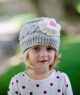 Gray & White Flower Wool Gloria Beanie /Hat