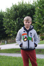 Gray Tractor John Knit Zip Hoodie- Boy