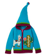 Blue Happy Llama Knit Zipped Hoodie