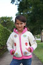 Margaret Ecru & Pink  Knit Zip Hoodie
