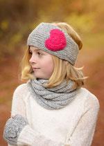 Gray and Heart Knit Headband, ear warmer