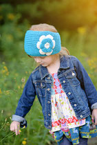 Blue and Ecru Knit Flower Headband Bicolor