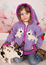 Lilac Bunny Knit Zip Hoodie