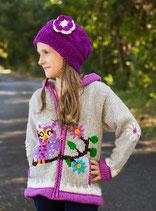 Gray & Lilac Owl  Knit Zipped Hoodie