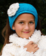 Turquoise Knit Headband, ear warmer with a crochet flower.