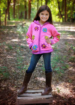 SALE Pink Daisy Knit Zip Hoodie