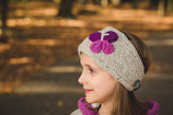 Gray and  Purple Knit Butterfly Headband, ear warmer