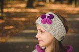 Gray and  Purple Knit Butterfly Headband, ear warmer