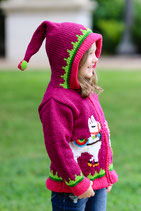 Berry and Cherry Happy Llama Knit Zipped Hoodie