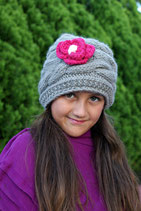 Wool Gray and Orchid Gloria Beanie /Hat