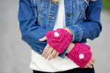 Mauve Flower Fingerless Mittens
