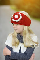 Raspberry and Ecru Knit Headband, duo crochet flower.