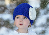 Blue Knit Headband, ear warmer with a crochet flower.