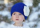 Blue Knit Headband, ear warmer with a crochet flower.