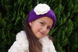 Purple Knit Headband, ear warmer with a crochet flower.