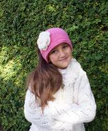Rose Knit Headband, ear warmer with a crochet flower.