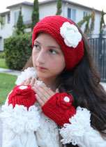 Red Flower Fingerless Mittens