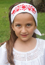 Cynthia Embroidered -White Red headband