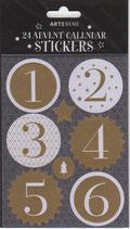 Adventskalender Sticker Gold