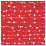 Weihnachtspapier Rolle Sterngirlande rot