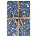 Geschenkpapier (Bogen) Sterne nachtblau