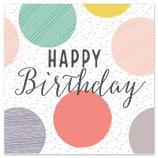 Happy Birthday dots grau