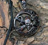 Halskette mit Anhänger rund, Piratenlook