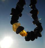 Splitterarmband Obsidian & Gelber Opal (ca. 23 cm)