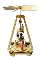 3 stöckige Pyramide Weihnachtspyramide Christi Geburt bunte Figuren