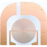 This thin-film sensor has a  two interdigitated working electrodes in radial shape, a reference and a working electrode - ED-IDRA1-Au/Pt