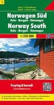 Straßenkarte 1:250.000 Norwegen Süd, Oslo – Bergen – Stavanger