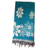 Echarpe en laine de Yack: Fleur, fond bleu-vert