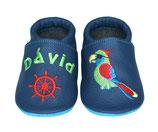 Krabbelschuh blau - Papagei/Steuerrad, personalisiert