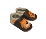 Krabbelschuh - beige-braun- orange  Löwe 3D