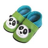 Krabbelschuh - türkis/grün mit Panda