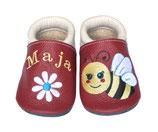 Krabbelschuh weiß/rot - Biene/Blume, personalisiert