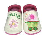 Krabbelschuh weiß/pink - Elefant/Blume, personalisiert