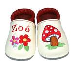 Krabbelschuh weiß/rot - Pilz/Blume, personalisiert