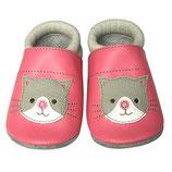 Krabbelschuh - grau/rosa Katze