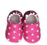 Krabbelschuh -  Baumwolle pink mit Sternen