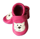 Krabbelschuh/Lederpatscherl - pink mit Katze