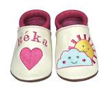 Krabbelschuh pink/weiß - Herz/Sonne/Wolke, personalisiert