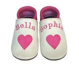 Krabbelschuh pink/weiß - Herz, personalisiert mit Doppelnamen
