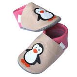 Krabbelschuh - puderrosa/pink Pinguine